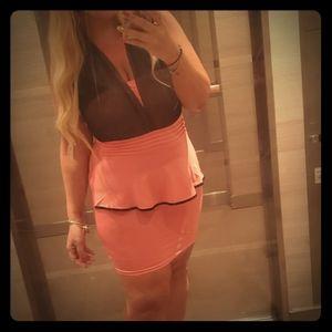 Black and peach coral sexy mini dress